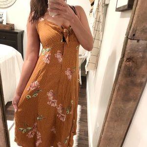 Xhilaration mustard floral tie boho maxi dress